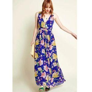 Blue Floral Chiffon Maxi Dress🌼
